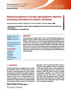 Selective suspension of single layer graphene mechanochemically ...