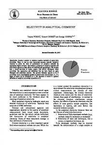 selectivity in analytical chemistry - Revue Roumaine de Chimie