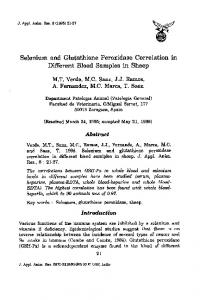 Selenium and Glutathione Peroxidase Correlation in Different Blood ...