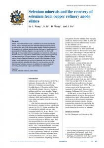 Selenium minerals and the recovery of selenium from copper ... - SAIMM