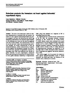 Selenium protects the immature rat heart against ... - Springer Link