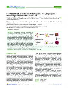 Self-Assembled ZnO Nanoparticle Capsules for ... - ACS Publications