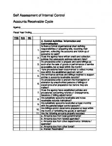 Self Assessment of Internal Control Accounts Receivable Cycle