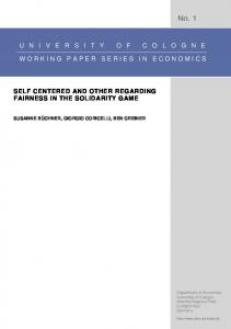 Self Centered and Other Regarding Fairness in the ...