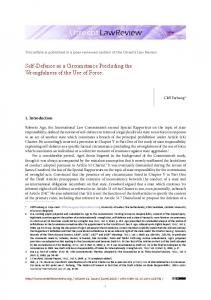 Self-Defence as a Circumstance Precluding the ... - Utrecht Law Review