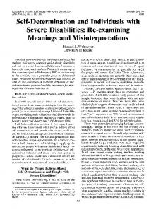 Self-Determination and Individuals with Severe ...