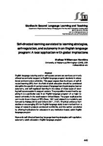 Self-directed learning as related to learning strategies, self ... - Eric