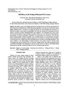 Self-Efficacy in the Writing of Malaysian ESL Learners