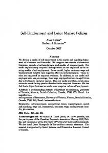 Self-Employment and Labor Market Policies - CiteSeerX
