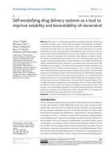 self-emulsifying drug delivery systems as a tool to ...
