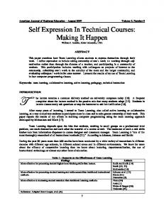 Self Expression In Technical Courses: Making It Happen - Eric