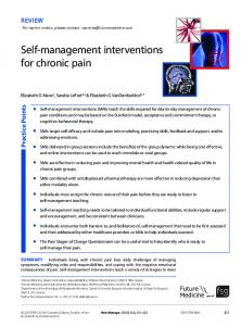 Self-management interventions for chronic pain - Future Medicine