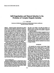 Self-Organization and Natural Selection in the Evolution of Complex ...
