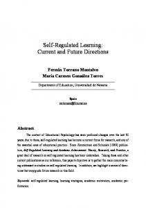 Self-Regulated Learning: Current and Future Directions