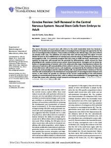 Self-Renewal in the Central Nervous System ... - Wiley Online Library