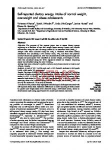 Self-reported dietary energy intake of normal weight, overweight and ...