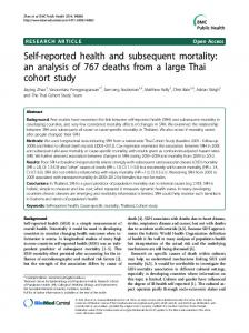 Self-reported health and subsequent mortality: an analysis ... - CiteSeerX