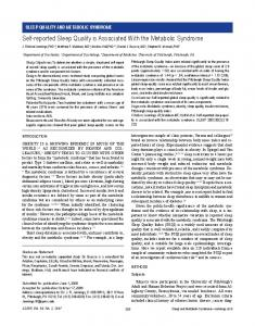 Self-reported Sleep Quality is Associated With the ... - Semantic Scholar
