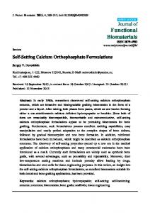 Self-Setting Calcium Orthophosphate Formulations