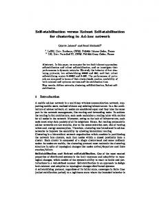 Self-stabilization versus Robust Self-stabilization ... - Semantic Scholar