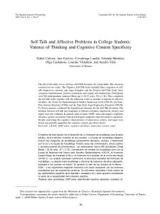 Self-Talk and Affective Problems in College Students: Valence of ...