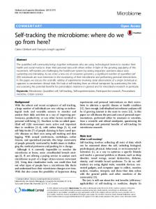 Self-tracking the microbiome: where do we go from here?