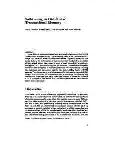 Self-tuning in Distributed Transactional Memory - Distributed Systems