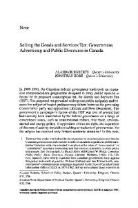 Selling the Goods and Services Tax: Government Advertising ... - SSRN