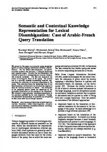 Semantic and Contextual Knowledge Representation for Lexical ...