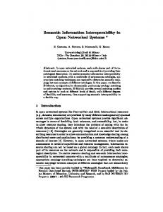 Semantic Information Interoperability in Open Networked Systems *
