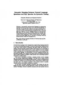 Semantic Mapping Between Natural Language Questions and ... - Unitn