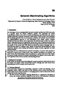 Semantic Matchmaking Algorithms - Semantic Scholar