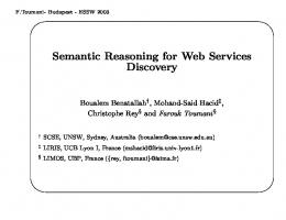 Semantic Reasoning for Web Services Discovery - Semantic Scholar
