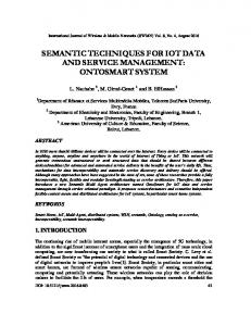 semantic techniques for iot data and service ... - Aircc Digital Library