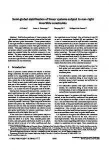 Semi-global stabilization of linear systems subject to non ... - CiteSeerX