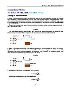 Semiconductor Devices Doping of semiconductors