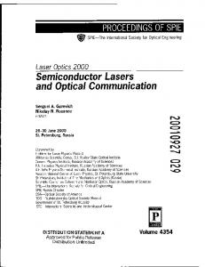 Semiconductor Lasers and Optical Communication
