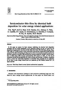 Semiconductor thin films by chemical bath deposition for solar energy ...