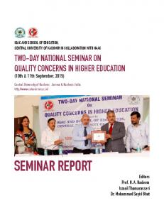 seminar report - Central University Of Kashmir