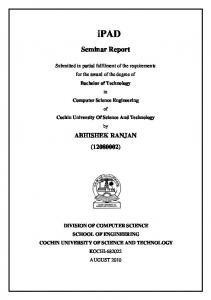 Seminar Report - DSpace at CUSAT - Cochin University of Science ...