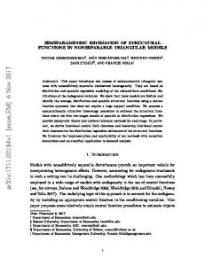 Semiparametric Estimation of Structural Functions in Nonseparable ...