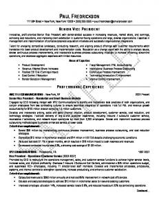 Senior Vice President Resume Sample After