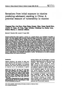 Sensations from initial exposure to nicotine predicting adolescent ...