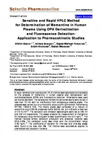 Sensitive and Rapid HPLC Method for Determination of ... - CiteSeerX