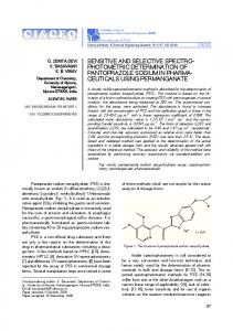 Sensitive and selective spectrophotometric determination of ...