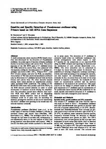 Sensitive and Specific Detection of Pseudomonas avellanae using ...