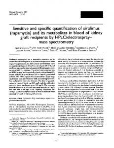 Sensitive and specific quantification of sirolimus ... - CiteSeerX