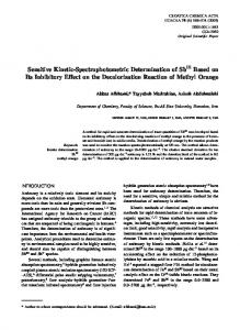 Sensitive Kinetic-Spectrophotometric Determination of ...