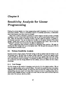 Sensitivity Analysis for Linear Programming