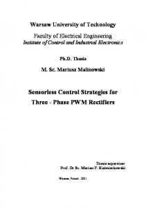 Sensorless Control Strategies for Three - Phase PWM Rectifiers